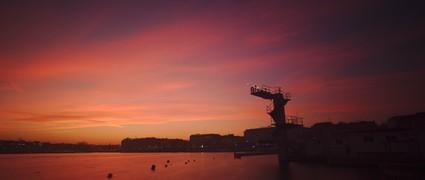 A golden sunset over lake Geneva