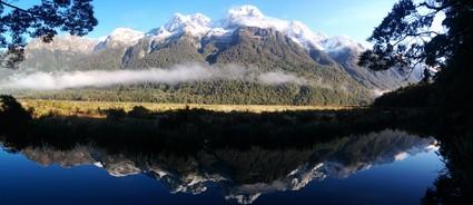 Mirror Lakes in Fiordland, New Zealand